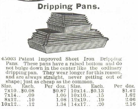 Kristin Holt | Victorian Cake: Tins, Pans, Moulds -- Dripping Pans, advertised in 8 different sizes at 8 different prices ranging from $0.08 to $0.20 each. Sold in the 1895 Montomery Ward Spring and Summer Catalog.