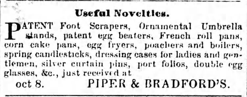 Kristin Holt | Victorian Cooking: Rotary Egg Beater ~ In Time for Angel's Food Cake? Useful novelties, including patent egg beaters for sale at Piper and Bradford's, advertised in Sugar Planter newspaper of Port Allen, Louisiana, October 29, 1859.