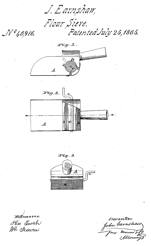 Kristin Holt | Victorian Cooking: The Sifter ~ An American Victorian Invention? U.S. Patent No 48,916 awarded to J (John) Earnshaw of Lowell, Mass., July 25, 1865.
