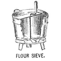 Kristin Holt | Victorian Cooking: The Sifter ~ An American Victorian Invention? Flour Sieve illustration (etching) pictured in the introductory pages of Royal Baker Pastry Cook published in 1888 by Royal Baking Powder Company.