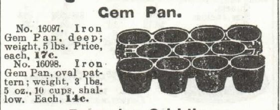 Kristin Holt | Victorian Cake: Tins, Pans, Moulds. Iron Gem Pan for sale by 1897 Sears, Roebuck & Co. Catalogue No. 104.