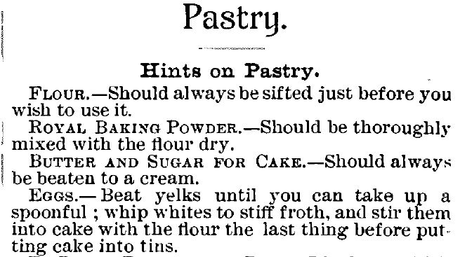 Kristin Holt | Victorian Cooking: The Sifter ~ An American Victorian Invention? Hints on Pastry making, published within Royal Baker Pastry Cook, 1888.