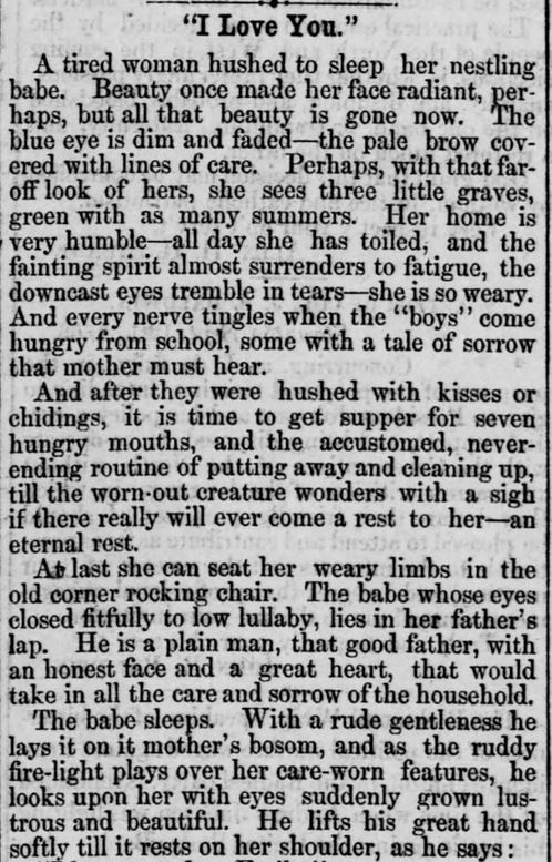 """Kristin Holt   Victorians Say """"I Love You,"""" from Straunton Spectator of Straunton, Virginia on September 25, 1866. Part 1 of 3."""