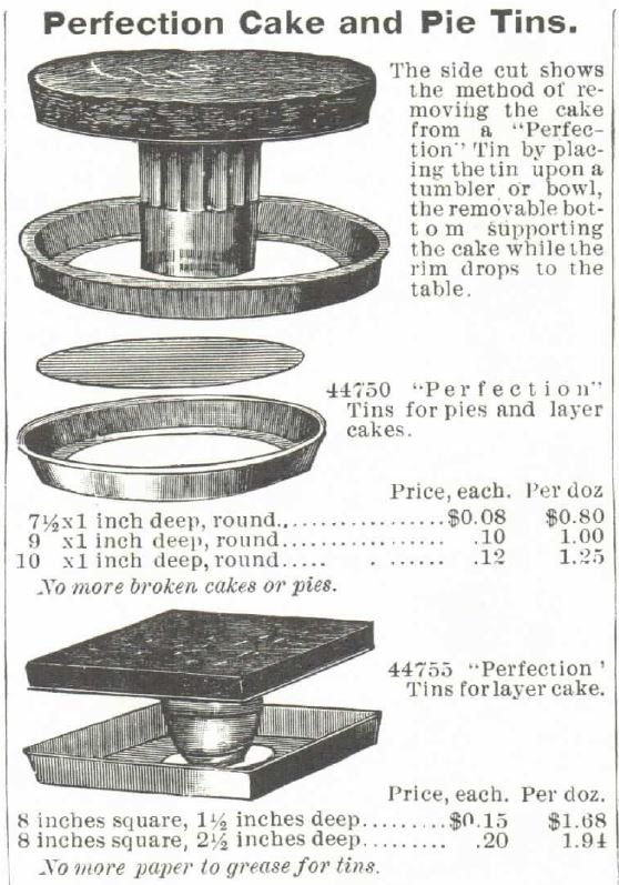 "Kristin Holt | Victorian Cake: Tins, Pans, Moulds -- ""Perfection"" Cake and Pie Tins. ""The side cut (illustration) shows the method of removing the cake from a ""Perfection"" Tin by placing the tin upon a tumbler or bowl, the removable bottom supporting the cake while the rim drops to the table."" Published in the <strong>1895</strong> <em>Montgomery Ward</em> Catalog."