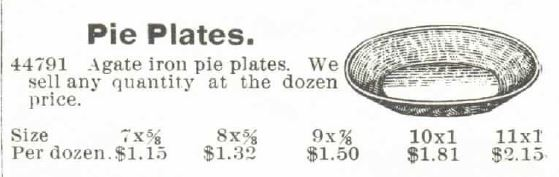 Kristin Holt | Victorian Cake: Tins, Pans, Moulds. Pie Plates, Agate iron pie plates sold by Montgomery, Ward & Co. Catalogue 1895 Spring and Summer, No. 57.