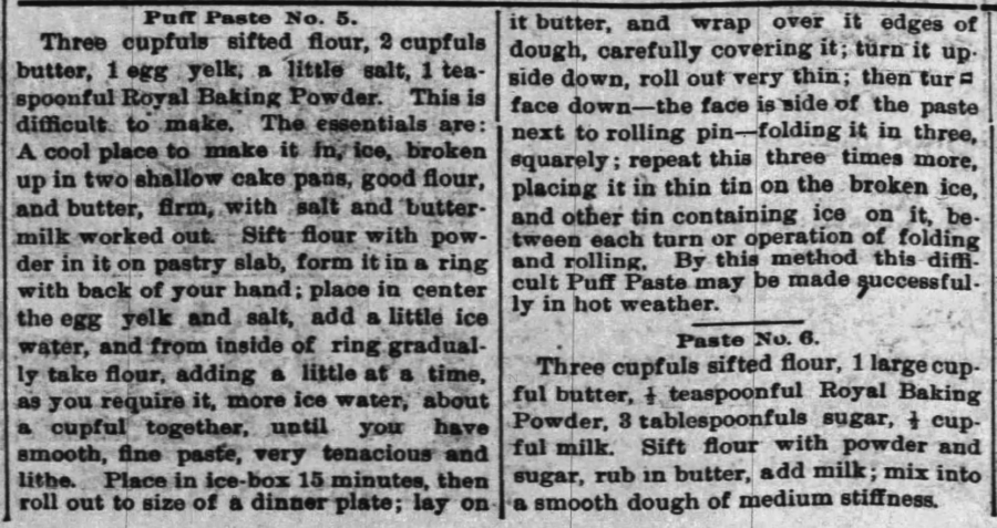 Kristin Holt | Victorian Cooking: The Sifter ~ An American Victorian Invention? Two Puff Faste recipes published in The Nebraska State Journal of Lincoln, Nebraska on June 11, 1895.