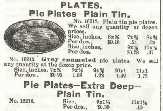 Kristin Holt | Victorian Cake: Tins, Pans, Moulds. Pie Plates made of plain tin, and Pie plates extra deep and made of plain tin. For sale by 1897 Sears, Roebuck & Co. Catalogue No. 104.