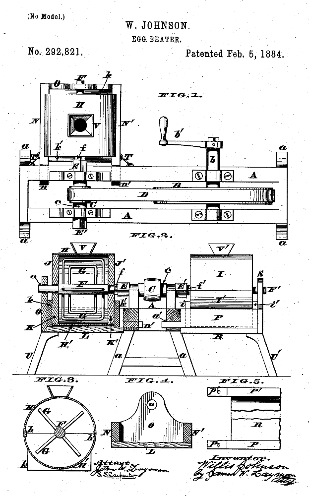 Kristin Holt | Victorian Cooking: Rotary Egg Beater ~ In Time for Angel's Food Cake? U.S. Patent No 282,821 for W. Johnson Egg Beater, Patented February 5, 1884. Illustration courtesy of Google..