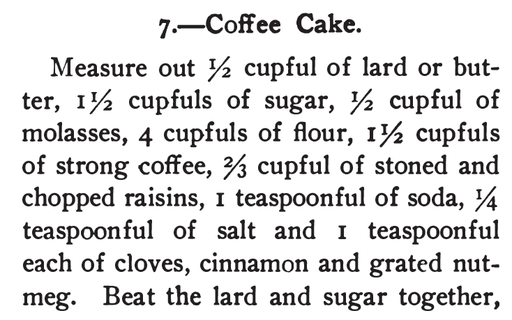 Kristin Holt | Vintage Coffee Cake. Coffee Cake Recipe from 365 Cakes and Cookies, 1904.