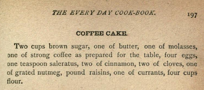 Kristin Holt | Vintage Coffee Cake. Coffee Cake recipe from The Every-Day Cook-Book and Encyclopedia of Practical Recipes, 1889.