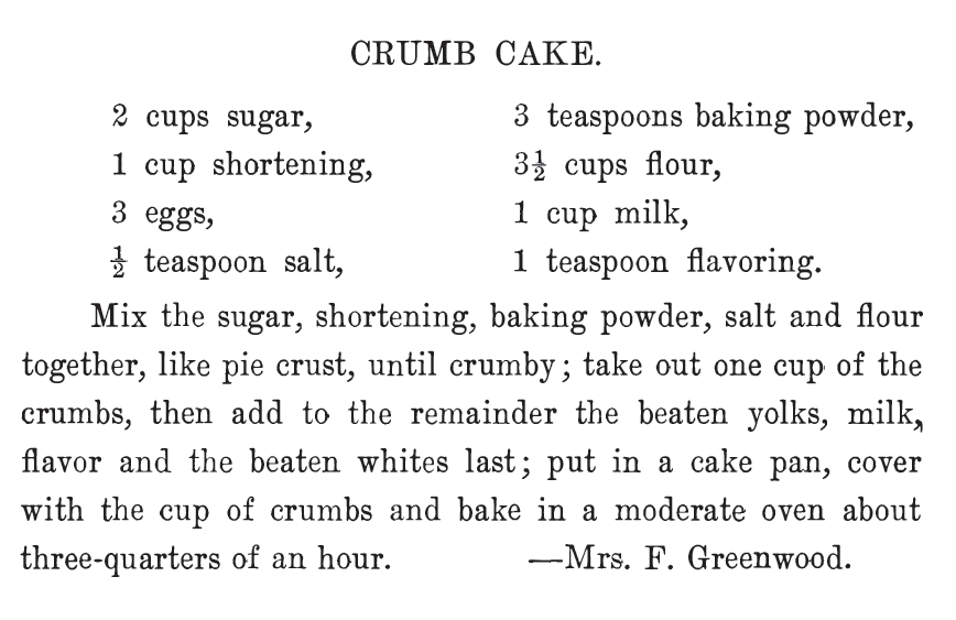 Kristin Holt | Vintage Coffee Cake. Crumb Cake, my personal idea of a delicious coffee cake! This recipe, by Mrs. F. Greenwood, was included in The West Bend Cook Book, 1908.