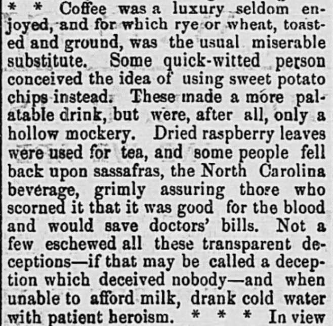 "Kristin Holt | Victorian Coffee. ""Call it what it is! Yes! Bread Crumb Coffee IS a hollow mockery! This opinion was published as part of remembrances of Confederacy times, in The Intelligencer of Anderson, South Carolina. March 23, 1876."