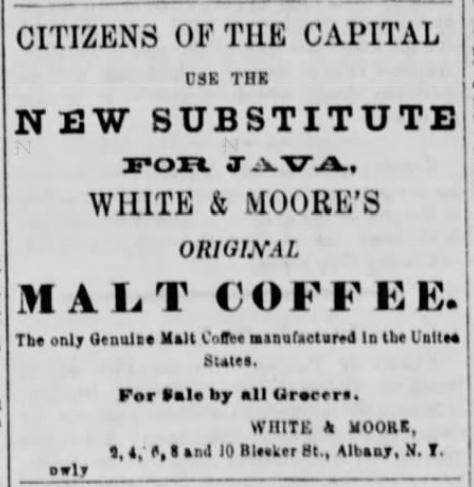 "Kristin Holt | Victorian Coffee. ""Malt Coffee,"" a substitute for Java. Citizens of the capitol drink it! (after all, the nation was at war). Published in Green Mountain Freeman of Montpelier, Vermont on January 19, 1864."