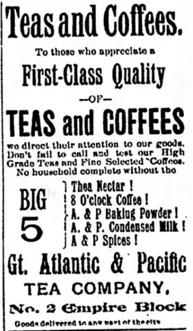 Kristin Holt | Victorian Coffee. Coffee, Tea, and Canned Milk sold at separate store from grocery. Published in Middletown Press of Mittletown, New York on November 4, 1892.