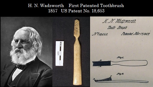 Kristin Holt | Late Victorian Dentistry: Ultra Modern! Vintage photo of H.N. Wadsworth and sketch of First Patented Toothbrush (1857), U.S. Patent No. 18,653.