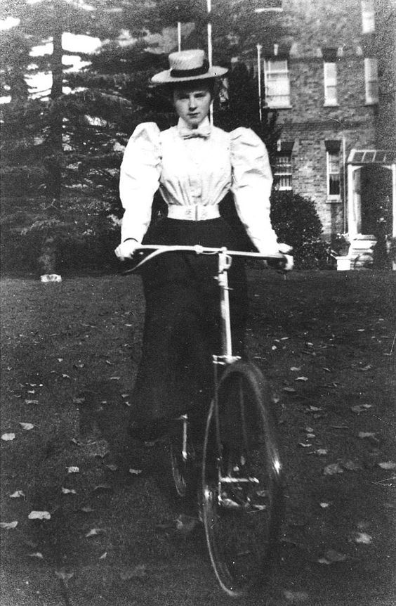Kristin Holt | Kristin Holt | Victorian Ladies Wore Costumes--Every Day. Vintage Photograph of woman in bicycling costume (on bicycle). 1890s.