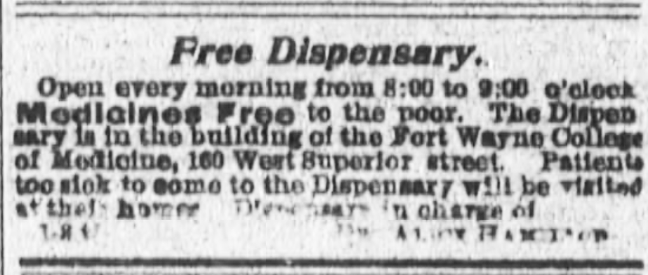 Kristin Holt | Victorian Medical and Dental Dispensaries: Really? It's Free? Medical Dispensary advertised in Fort Wayne Daily News of Fort Wayne, Indiana on September 15, 1897.