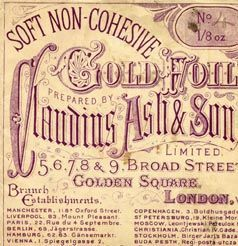 Kristin Holt | Late Victorian Dentistry: Ultra Modern! Vintage Ad for Soft Non-Cohesive Gold Foil for filling of teeth.