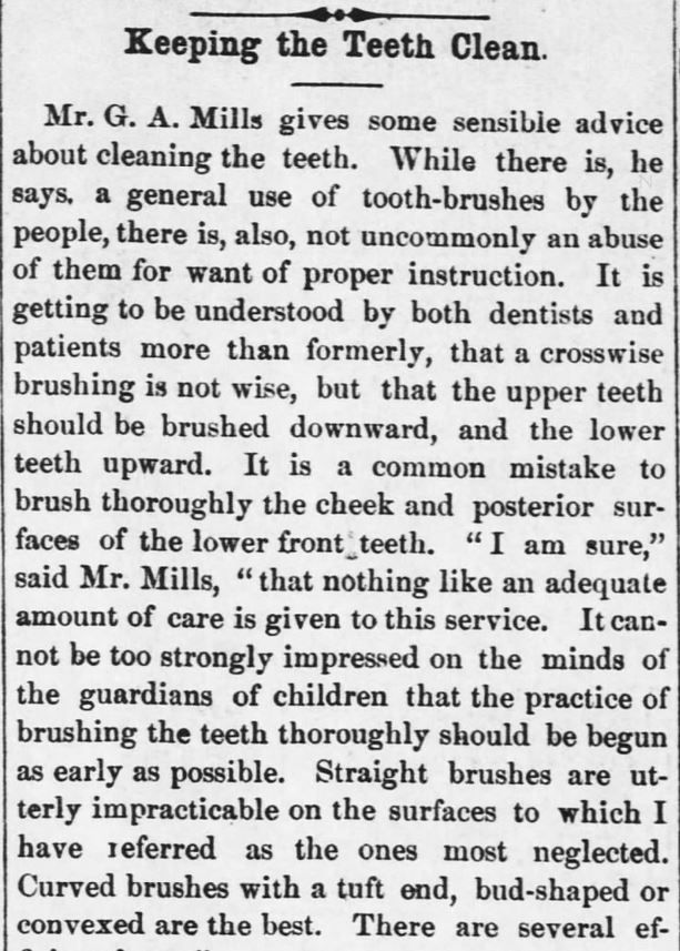 "Kristin Holt | Late Victorian Dentistry: Ultra Modern! Part 1 of 2: ""Keeping the Teeth Clean."" Publisihed in Kansas Farmer of Topeka, Kansas on May 5, 1880."