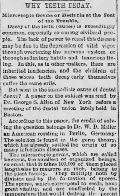 Kristin Holt | Victorian Mouths ~ Worms or Germs? Newspaper Article original, Why Teeth Decay, Part 1. Published in the St. Joseph Herald of St. Joseph, Missouri on January 15, 1889.