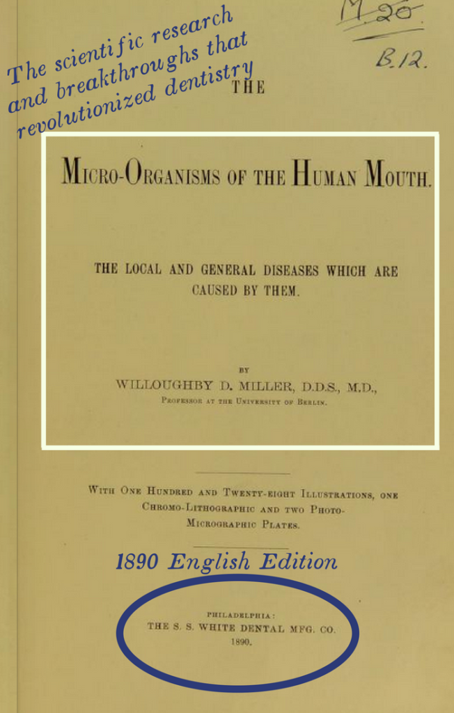 Kristin Holt | Victorian Mouths ~ Worms or Germs? Title Page of the 1890 English Edition: Micro-Organisms of the Human Mouth: The Local and General Disesases Which Are Caused By Them by Willoughby D. Miller, D.D.S., M.D.