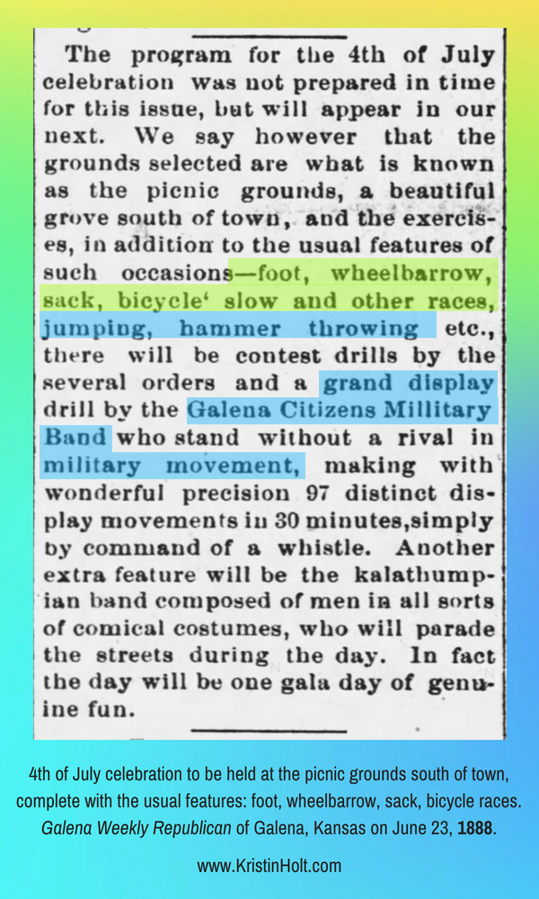 Kristin Holt | Victorians Race: On Foot, On Bicycles, In Wheelbarrows. Fourth of July celebration announced in Galena Weekly Republican of Galena, Kansas, June 23, 1888.