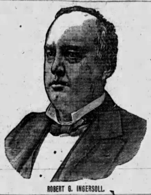 """Kristin Holt   Victorian Collars and Cuffs (for men). Etching portrait of a man, Roberg G. Ingersoll, showing his coat collar, bib (a.k.a. """"bosom"""") of his shirt, collar, necktie, etc. Published in Buffalo Evening News of Buffalo, NY on May 10, 1888."""