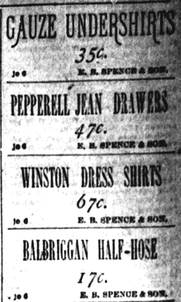Kristin Holt | The Victorian Man's Suit of Clothes. Pepperell Jean Drawers advertised at 47 cents by E.B. Spence & Son, Richmond Dispatch, Richmond, Virginia, August 1, 1886.