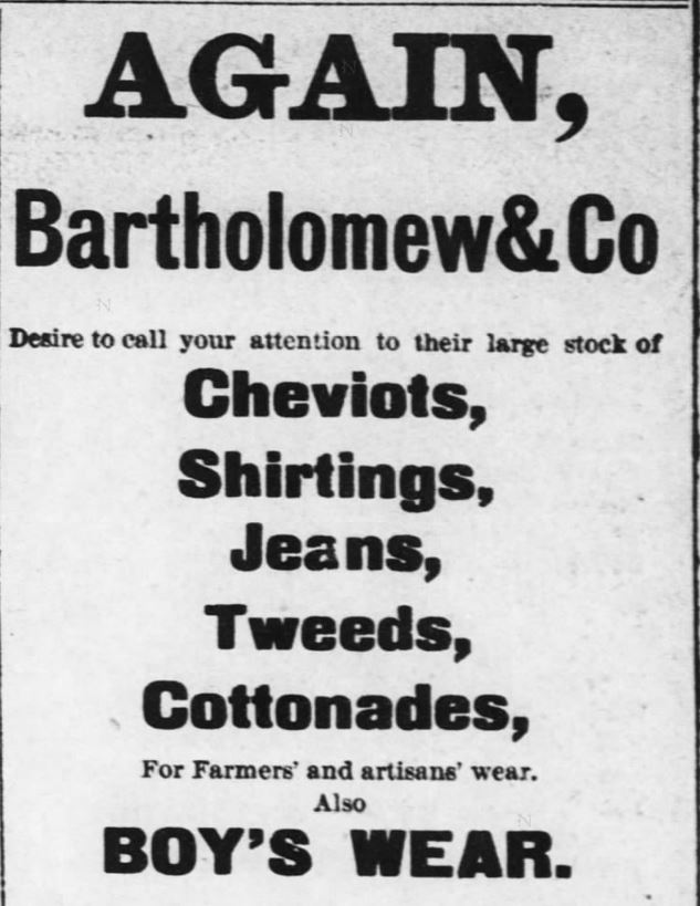 Kristin Holt | The Victorian Man's Suit of Clothes. Bartholomew & Co. advertise their clothing wares in the Kansas Farmer of Topeka, Kansas. May 5, 1880.