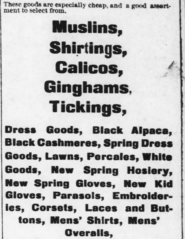Kristin Holt | The Victorian Man's Suit of Clothes. Men's shirts and men's overalls for sale (ready to wear), along with many fabrics and accoutrements for women. Advert from the Kansas Farmer of Topeka, Kansas. May 5, 1880.