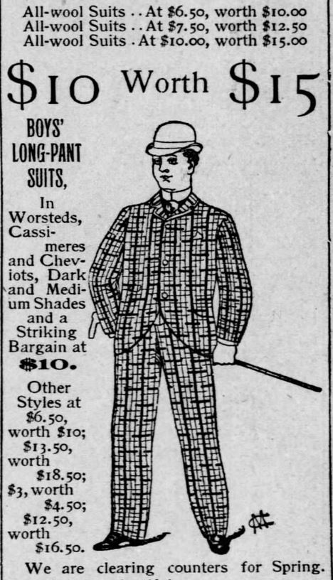 Kristin Holt | The Victorian Man's Suit of Clothes. More deep discounts advertised, with an illustration of a man in checkered suit. Part 2 of 5, from the St. Louis Post-Dispatch of St. Louis, Missouri on March 6, 1891.