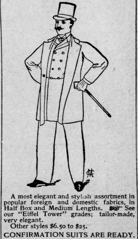 Kristin Holt | The Victorian Man's Suit of Clothes. Illustration of gentleman in tophat, sack coat, double-breasted suit coat, and walking stick (don't forget the gloves!). Part 4 of 5, from the St. Louis Post-Dispatch of St. Louis, Missouri on March 6, 1891.