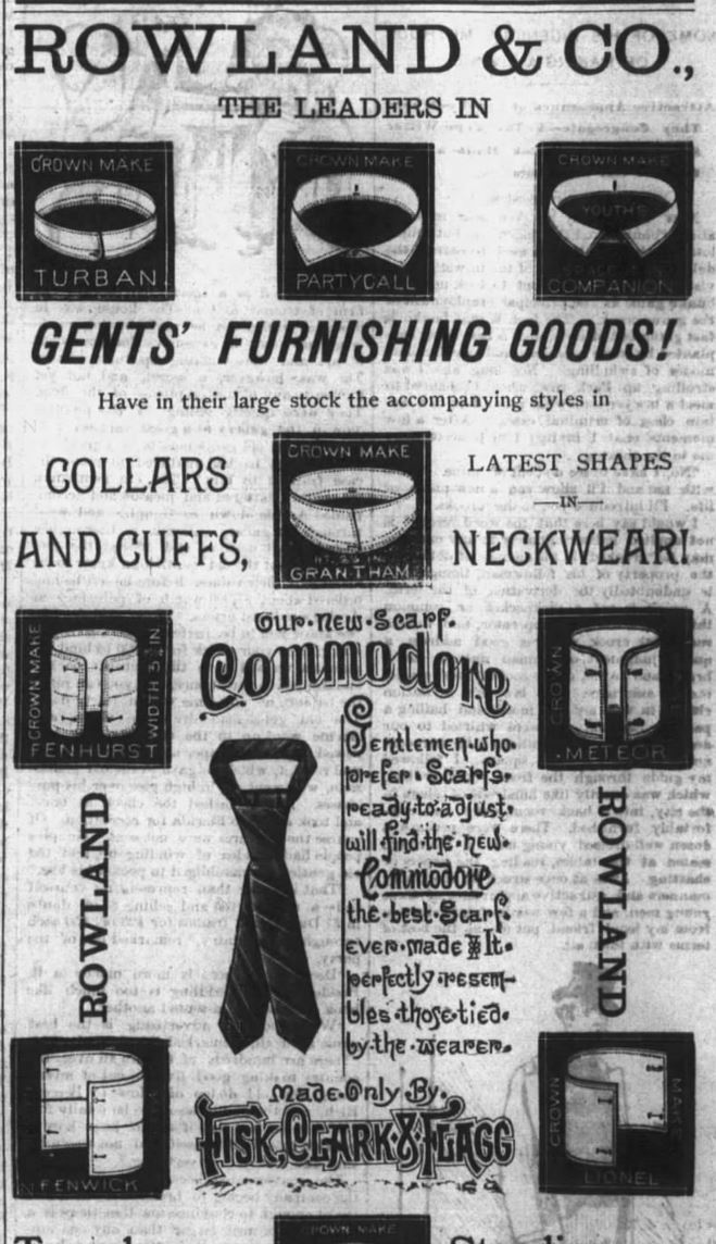 Kristin Holt   Victorian Collars and Cuffs (for men). Rowland & Co. Advertisement for Collars, Cuffs, neckties. Kentucky Advocate of Danville, KY, 18 May 1886.