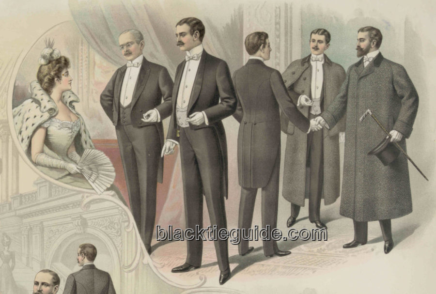 Kristin Holt | The Victorian Man's Suit of Clothes. Vintage Image: White Tie Fashion Plate, 1890.
