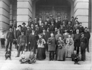 Kristin Holt | The Victorian Man's Suit of Clothes. Historical photograph taken of delegates at the Wyoming Constitutional Convention, 1889. Note the men dressed in proper suits of clothes (as well as the boys).