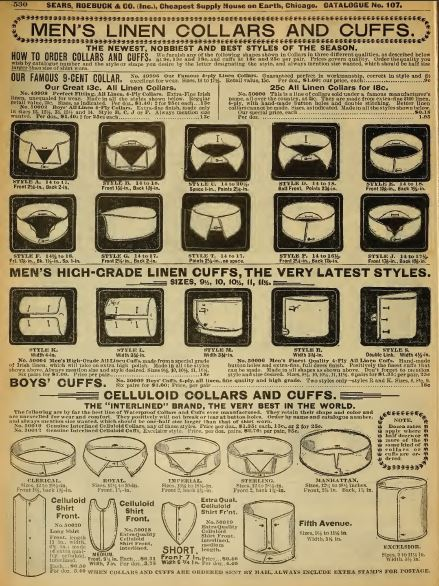 Kristin Holt   Victorian Collars and Cuffs (for men). Men's and Boy's Collars and Cuffs for sale in Sears Roebuck & Co. Catalog No. 107, 1898.