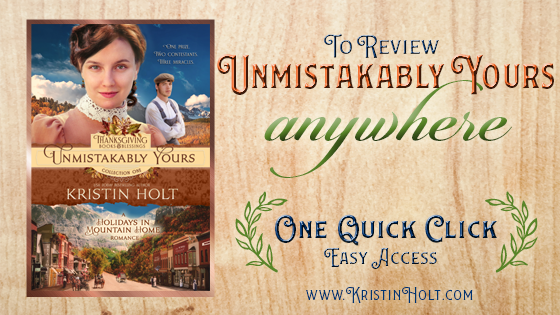 <strong>Kristin Holt</strong>'s website offers a One Quick Click page (with all available links) allowing readers to find and access anywhere they might wish to review this title: UNMISTAKABLY YOURS.