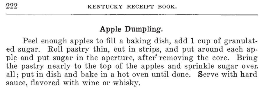 Kristin Holt | Victorian Apple Dumplings - recipe from Kentucky Receipt Book by Mary Harris Frazer, 1903.