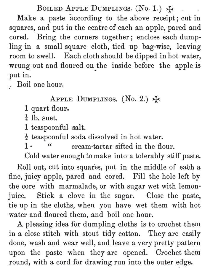 Kristin Holt | Victorian Apple Dumplings: Boiled Apple Dumplings (No. 1 and No. 2), published in Common Sense in the Household, 1884.