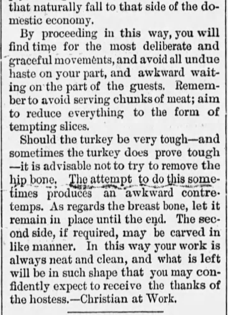 Kristin Holt | How to Carve a Thanksgiving Turkey, 1889. From Vermont Journal of Windsor, Vermont on November 30, 1889 (Part 3 of 3), contains instructions for carving a turkey.