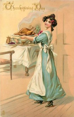 "Kristin Holt | How to Carve a Thanksgiving Turkey, 1889. Vintage postcard artwork: ""Thanksgiving Day,"" printed in Saxony, first use August 11, 1911."