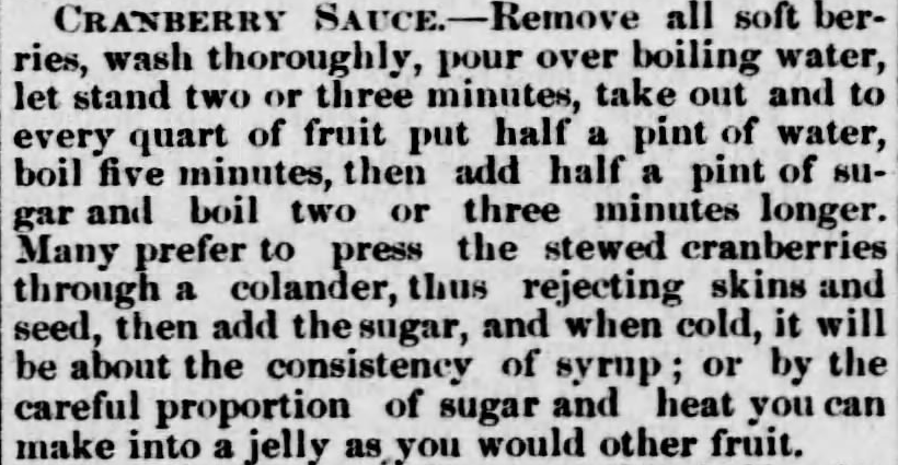 Kristin Holt | Victorian America's Thanksgiving Recipes - Cranberry Sauce. Brown County World of Hiawatha, Kansas. November 30, 1882.