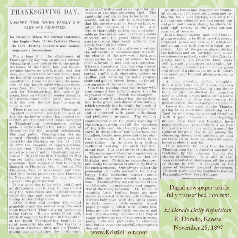 Kristin Holt | A Victorian-American Thanksgiving Day, 1897. Styled image containing the original newspaper clipping.