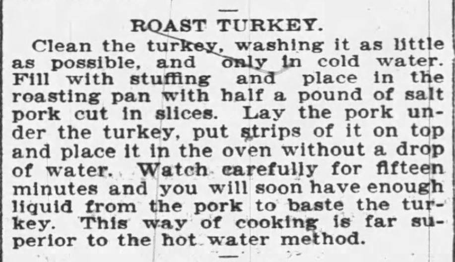 Kristin Holt | Victorian America's Thanksgiving Recipes - Roast Turkey Recipe for Thanksgiving, vintage newspaper clipping from The Buffalo Enquirer of Buffalo, NY on Dec 21, 1900.
