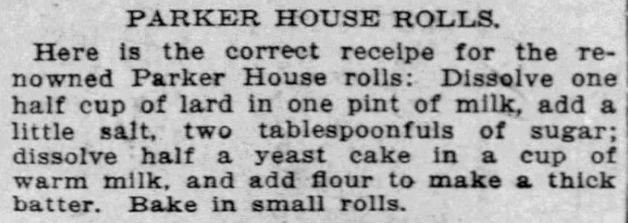 Kristin Holt | Victorian America's Thanksgiving Recipes - Parker House Rolls. The Buffalo Enquirer of Buffalo, New York on November 14, 1894.