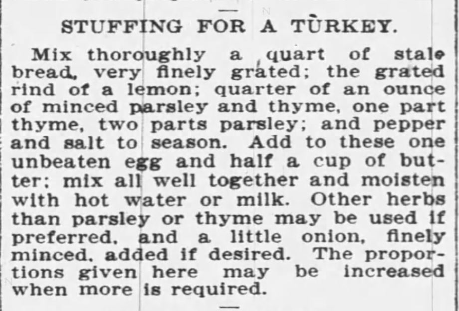 Kristin Holt | Victorian America's Thanksgiving Recipes - Stuffing for Turkey. The Buffalo Enquirer of Buffalo, NY. December 21, 1900.