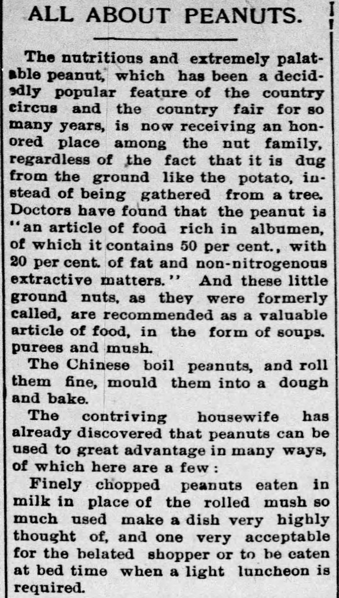 Kristin Holt | Peanut Butter in Victorian America. Newspaper Article: All about Peanuts, Part 1 of 8, published in The Ozark County News of Gainesville, Missouri on February 11, 1897.