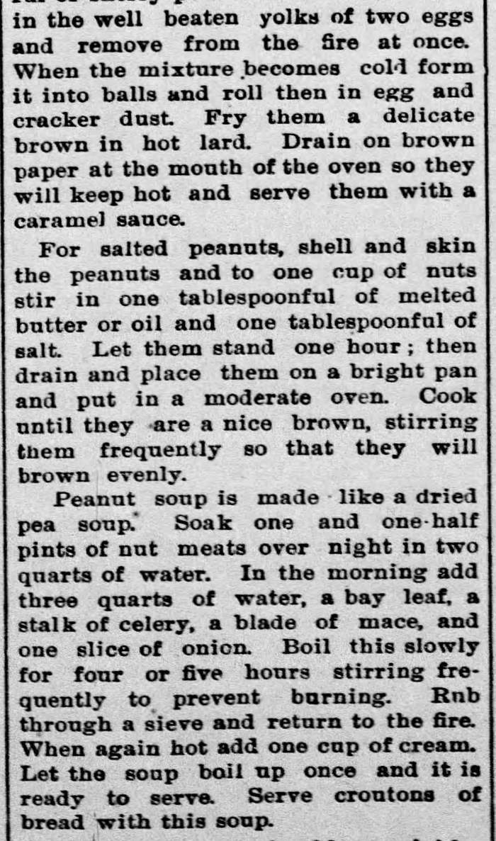 Kristin Holt | Peanut Butter in Victorian America. Newspaper Article: All about Peanuts, Part 4 of 8, published in The Ozark County News of Gainesville, Missouri on February 11, 1897.
