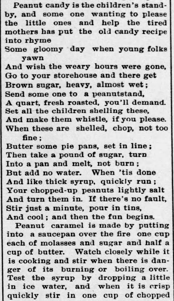 Kristin Holt | Peanut Butter in Victorian America. Newspaper Article: All about Peanuts, Part 7 of 8, published in The Ozark County News of Gainesville, Missouri on February 11, 1897.