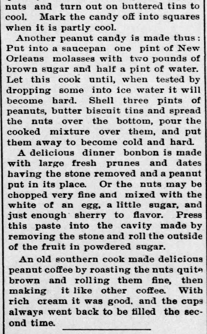 Kristin Holt | Peanut Butter in Victorian America. Newspaper Article: All about Peanuts, Part 8 of 8, published in The Ozark County News of Gainesville, Missouri on February 11, 1897.